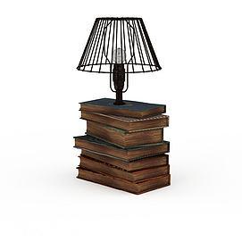 古书和灯模型