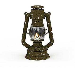 古代煤油灯3d模型