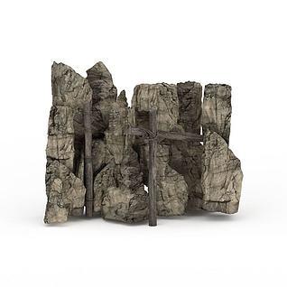石头假山3d模型