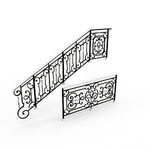 3d楼梯扶栏模型