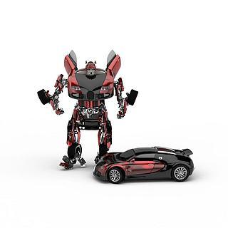 变型汽车<font class='myIsRed'>机器人</font>3d模型