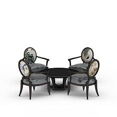 简易桌椅组合3D模型3d模型