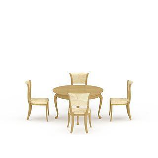 餐厅实木桌椅组合3d模型
