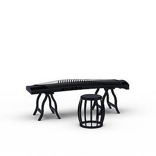 古筝乐器3d模型