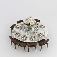 中式餐桌桌椅组合3D模型3d模型