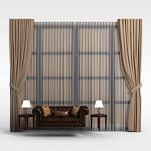 客厅窗帘模型