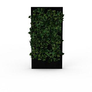 现代绿植背景墙3d模型