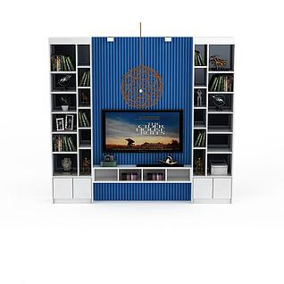 地中海风格电视墙3d模型