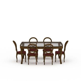 家庭餐桌桌椅组合3d模型