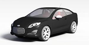 3d黑色小轿车模型