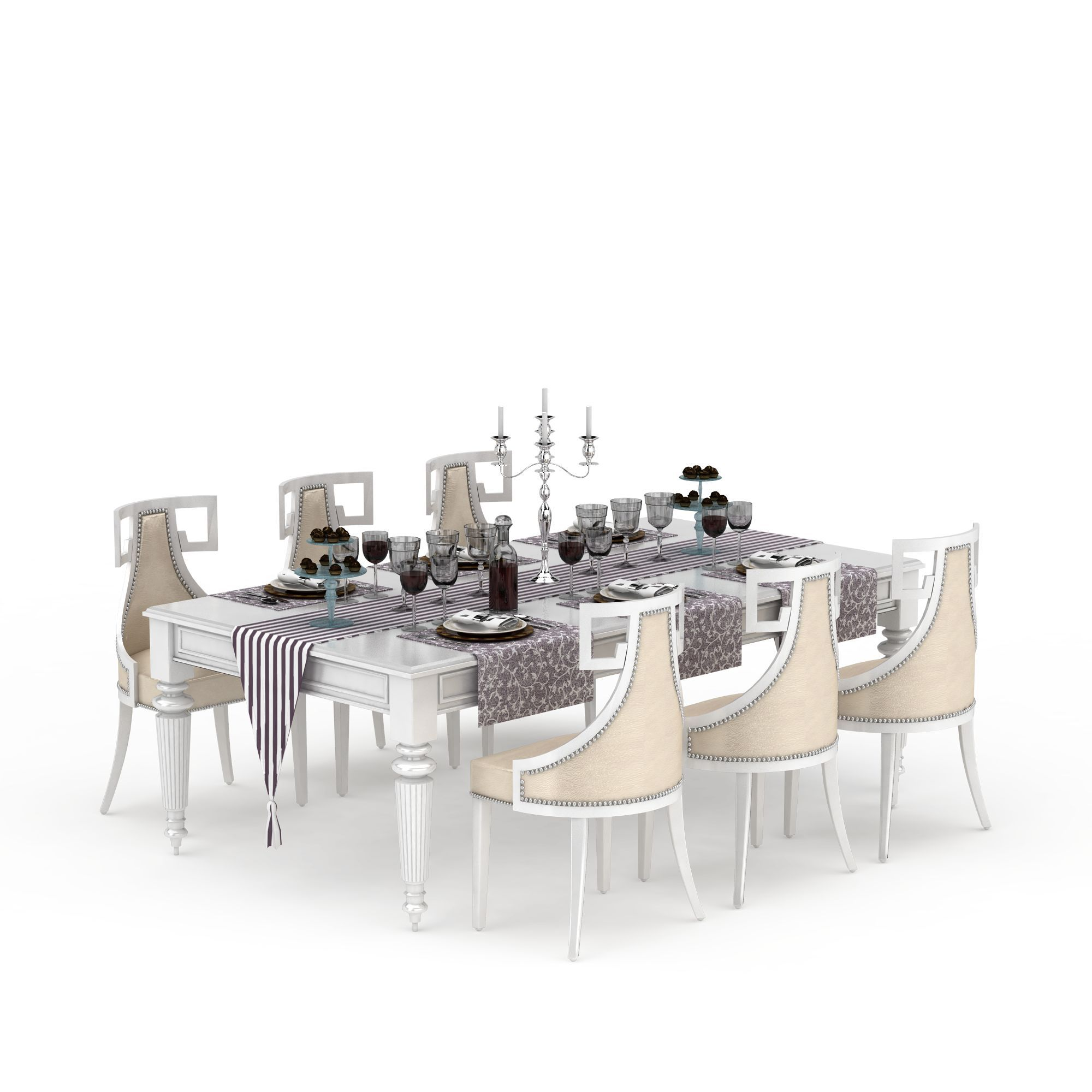 家具组合 桌椅 欧式桌椅套装3d模型 欧式桌椅套装png高清图  欧式桌椅