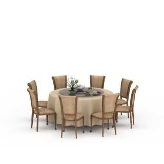 餐厅圆形桌椅组合3d模型