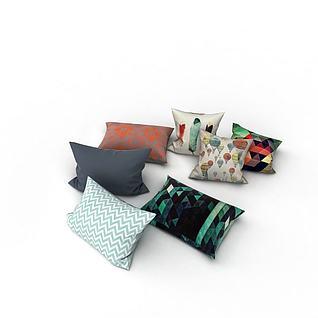 现代沙发抱枕3d模型