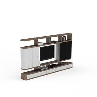 现代简约风格电视墙3d模型