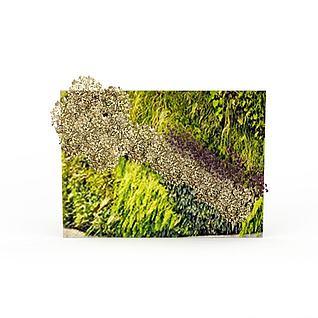 客厅绿色风景背景墙3d模型