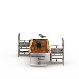 <font class='myIsRed'>实木桌椅</font>组合3d模型