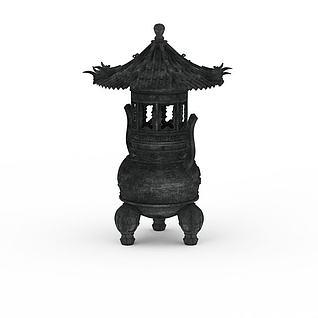 游戏场景香炉3d模型