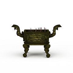 寺庙香炉模型3d模型