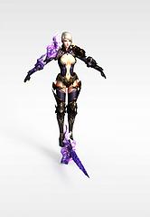 游戏女战士形象模型3d模型
