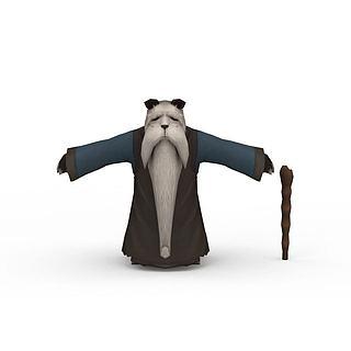 游戏角色熊猫<font class='myIsRed'>老人</font>3d模型