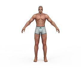3d游戏角色裸体男子模型
