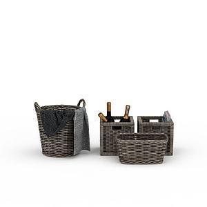 3d编织筐模型