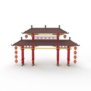 中式门楼3d模型