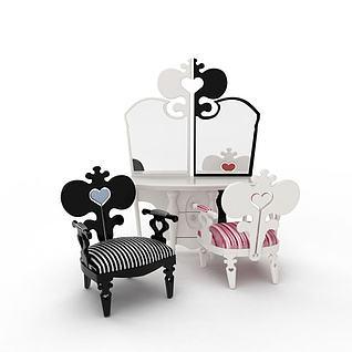 现代儿童桌椅3d模型