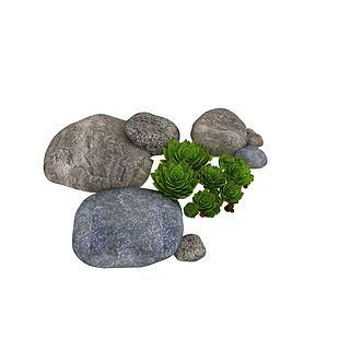 园林景观<font class='myIsRed'>石头</font>绿植3d模型