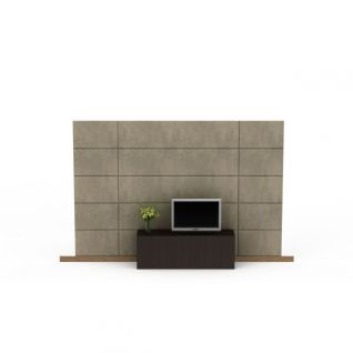 简约风格电视墙3d模型