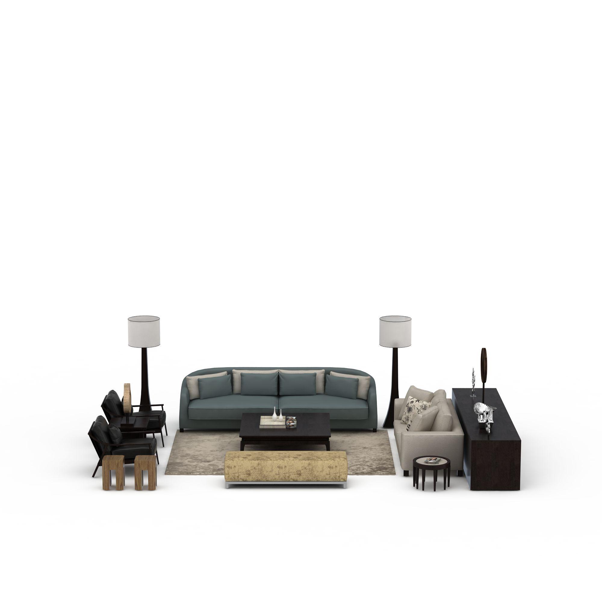 新中式沙发茶几组合高清图下载
