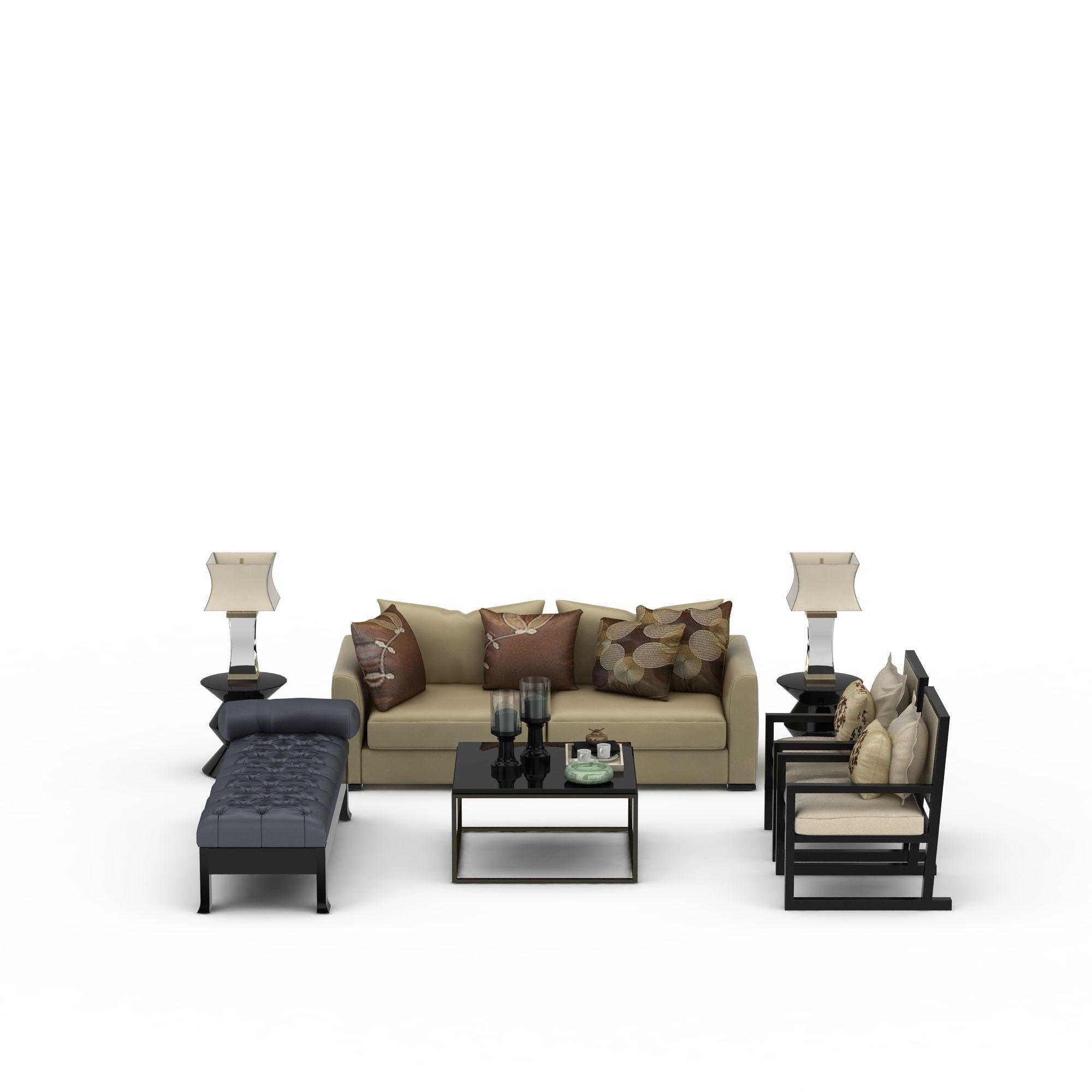 家具组合 桌椅 新中式沙发茶几组合3d模型 新中式沙发茶几组合png高清图片