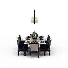 中式餐桌模型3d模型