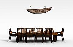 新中式餐桌模型3d模型