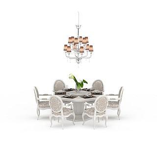 现代餐厅桌椅组合3d模型