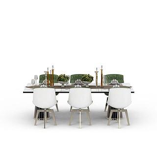 现代风格餐厅桌椅3d模型