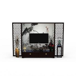 中式风格电视墙3d模型