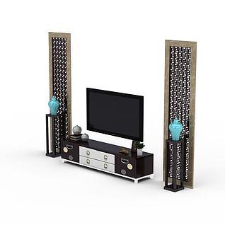 室内电视墙3d模型