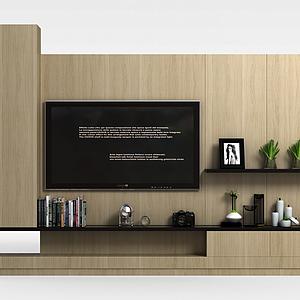 客廳電視墻模型
