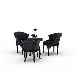 室内桌椅组合模型3d模型