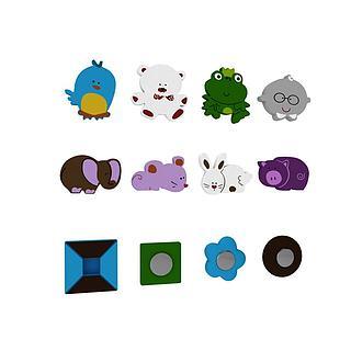 儿童玩具磁性卡通贴3d模型