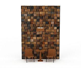 餐厅休闲桌椅组合3d模型