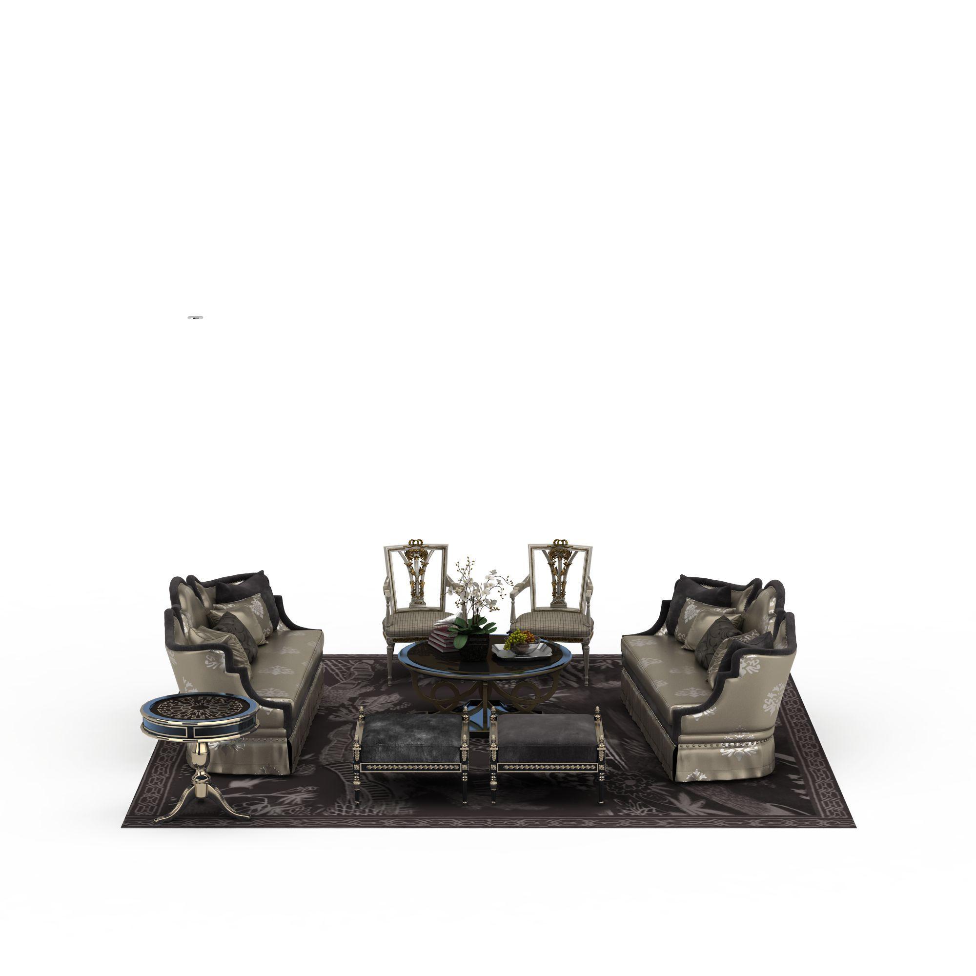 家具组合 沙发 欧式沙发茶几组合3d模型 欧式沙发茶几组合png高清图