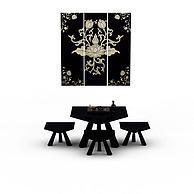 精美黑色中式桌椅套装3D模型3d模型