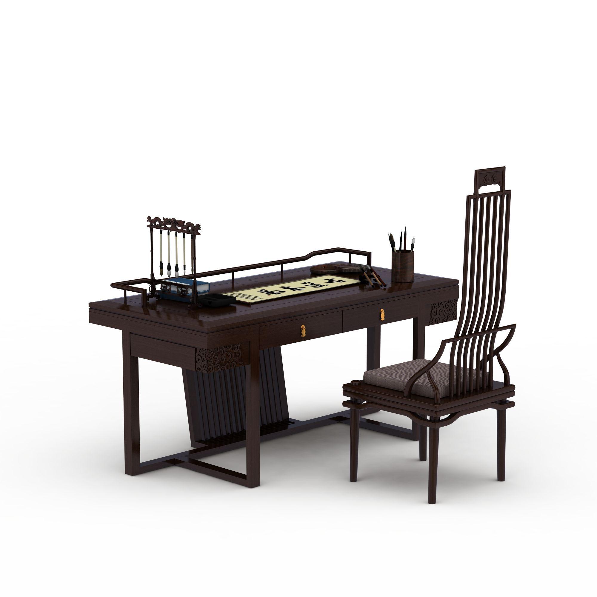 书房中式桌椅组合图片_书房中式桌椅组合png图片素材图片