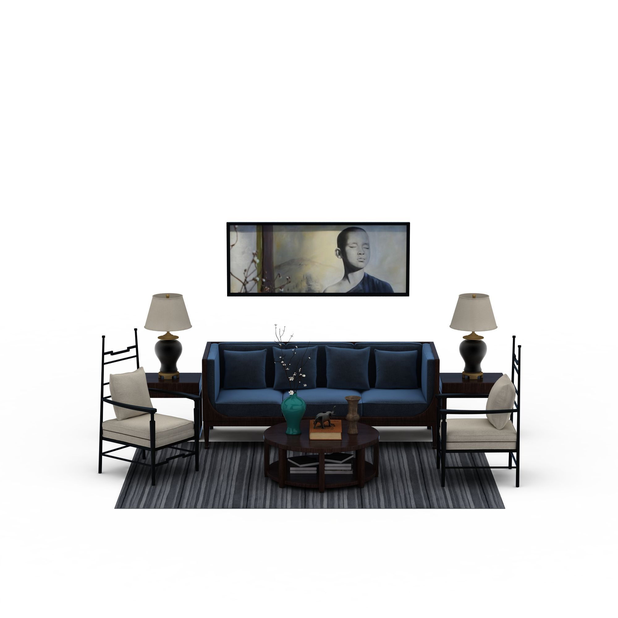 中式沙发茶几组合高清图下载图片