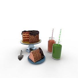<font class='myIsRed'>蛋糕</font>饮品组合3d模型