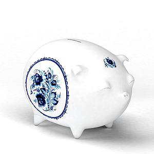 陶瓷小猪存钱罐模型3d模型