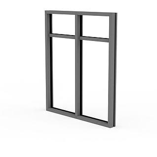 灰色木质窗3d模型