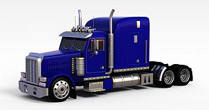 3d蓝色卡车模型